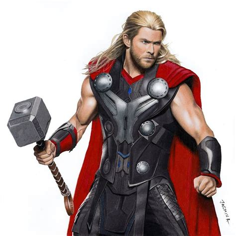 thor colors colored pencil drawing of chris hemsworth as thor by