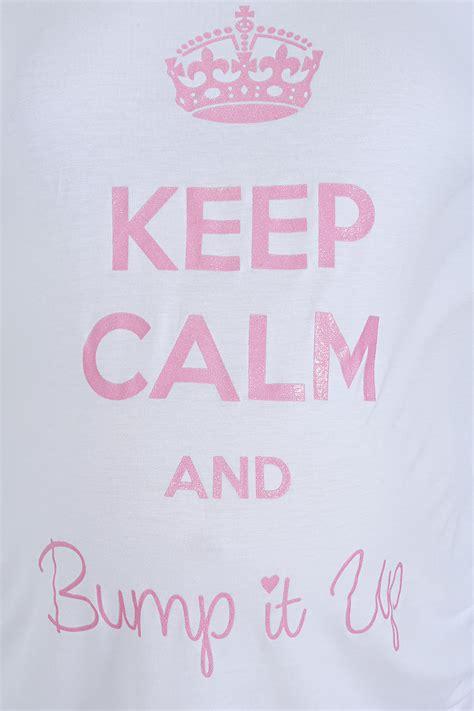 bump it up maternity white glittery keep calm top plus