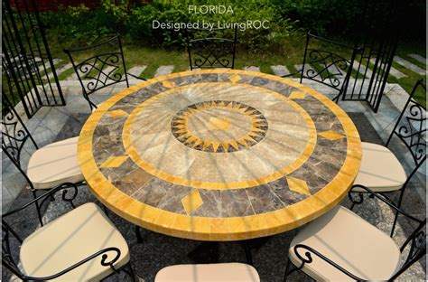 mosaic tile patio table 49 quot outdoor patio garden round table mosaic marble stone