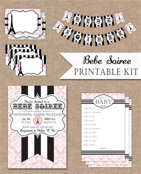 printable banner kit baby shower kit paris themed complete with invitation