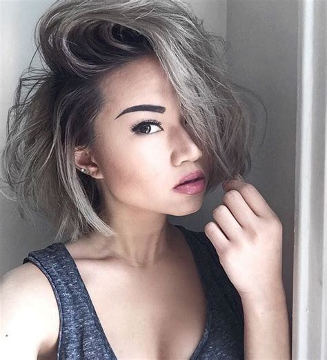 pictures of womens short dark hair with grey streaks best 25 short silver hair ideas on pinterest grey bob