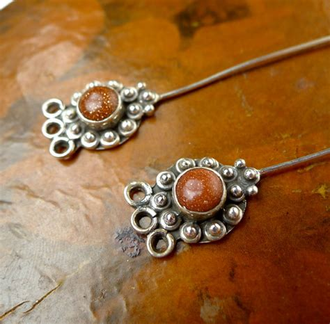 headpins for jewelry goldstone headpins sterling silver and goldstone jewelry