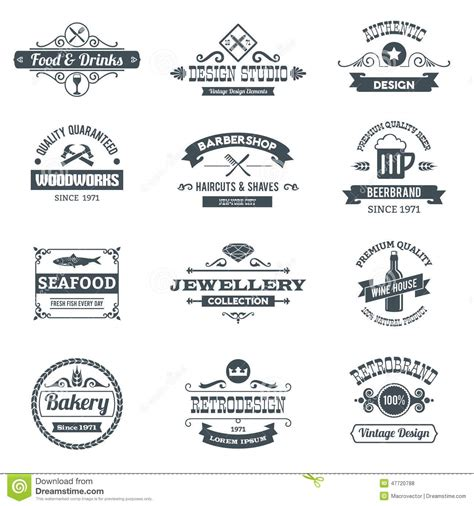 woodworks company retro logo set stock vector image 47720788