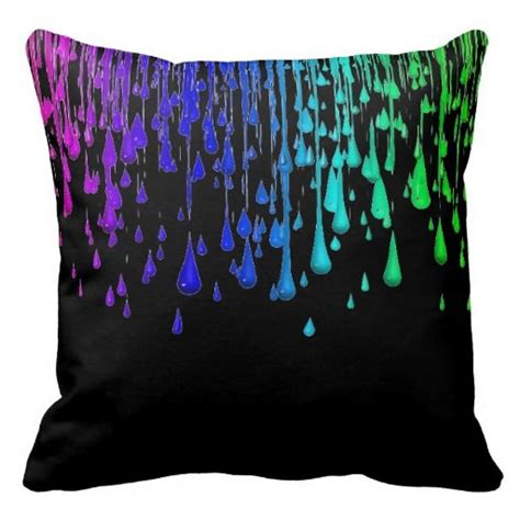 Neon Pillow Cases by Colorful Neon Rainbow Paint Drips Throw Pillow Throw