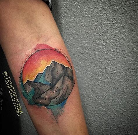 watercolor tattoos denver watercolor mountain schene by chris at