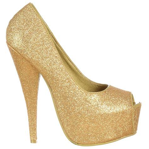 gold stiletto high heels shoekandi gold sparkly glitter peep toe stiletto concealed