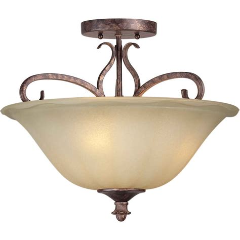 rustic semi flush mount lighting shop 16 in w rustic spice tea stained glass semi flush