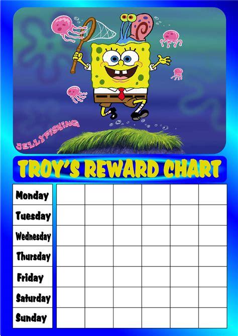 free printable reward charts spongebob personalised spongebob jellyfish reward chart stars ebay
