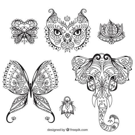 style flower animals and flowers boho style vector free
