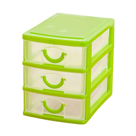 3 drawer plastic storage chest mini translucent drawer type plastic storage box green 3