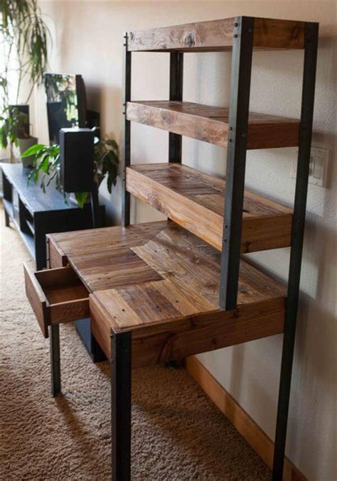 Diy Metal Desk Multi Tiered Pallet Desk 101 Pallets