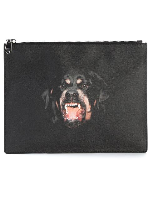 rottweiler givenchy clutch givenchy rottweiler print clutch in black for lyst