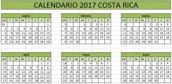 Calendario 2016 Costa Rica Calendario 2017 De Costa Rica 171 Excel Avanzado