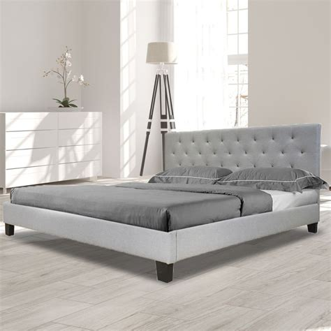 Helmi King Fabric Upholstered Bed Frame In Grey Buy King Buy King Bed Frame