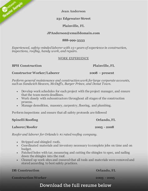 sample resume construction worker construction worker resume