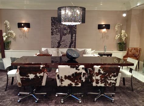 cowhide dining chairs and stylish choice of dining