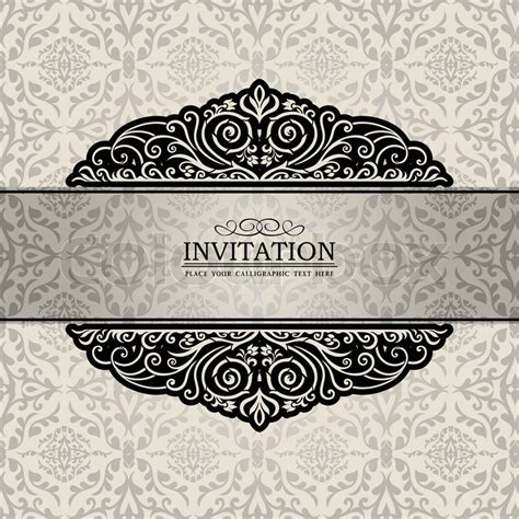 Invitation Letter Pattern Abstract Background With Exclusive Antique Luxury Vintage Silver Frame Creative Ornamental