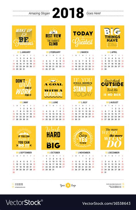 Poster Calendar Template Free calendar poster template for 2018 year week vector image