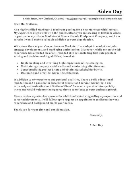 cover letter exles for marketing best marketing cover letter exles livecareer