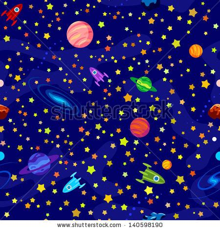 space and pattern in art cartoon space background cartoon planet stars stock vector