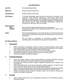 Procurement Manager Description by Sle Buyer Description 10 Exles In Pdf Word