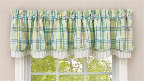 Blue Green Valance Window Coverings Kitchen Decor Decorative Accessories