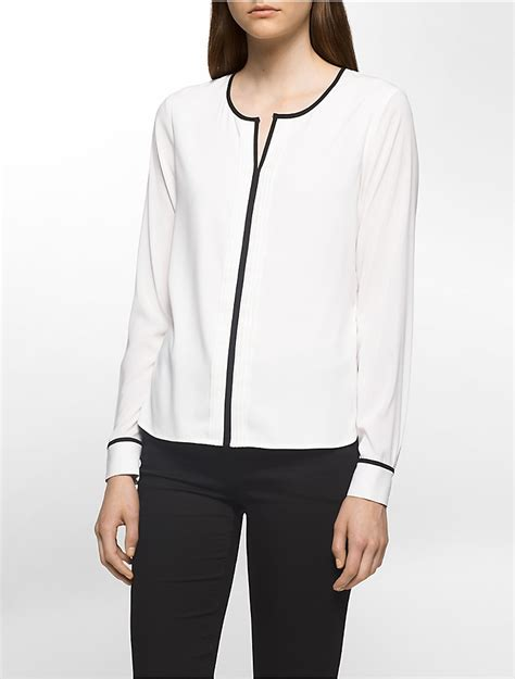 calvin klein womens pleated piped sleeve top shirt ebay