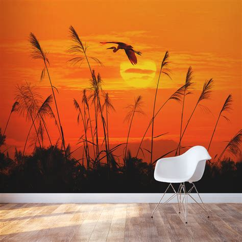 sunset wall mural heron reed sunset wall mural