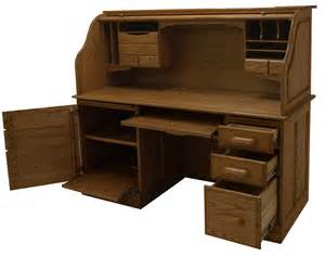 Oak Computer Desk 60 Quot W Solid Oak Rolltop Computer Desk In Briar Finish