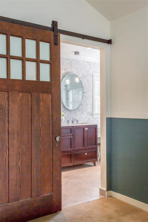 barn door ideas for bathroom floor to ceiling tile creates serene master bathroom