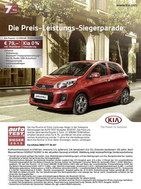 Auto Null Prozent Finanzierung by Kia Picanto 1 0 Team Edition Ab 79 Im Monat