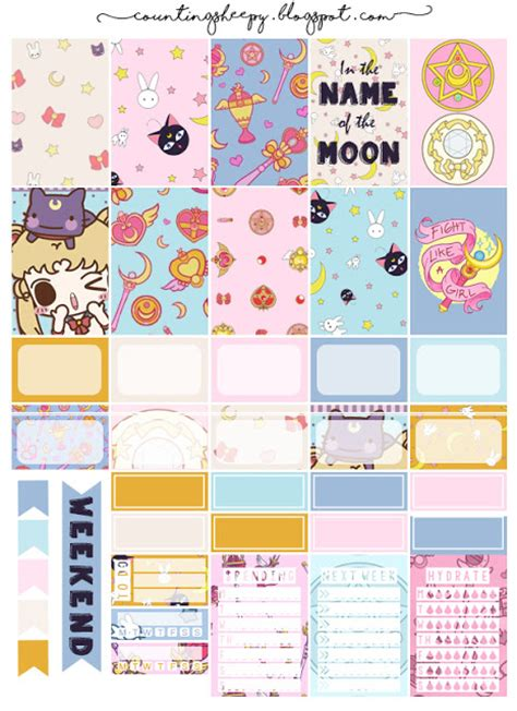printable moon journal free printable sailor moon planner stickers from counting