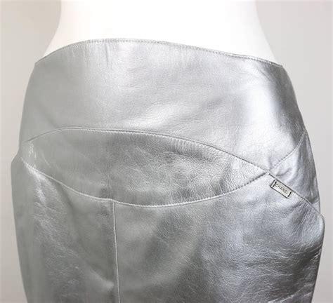 chanel silver metallic lambskin leather knee length pencil