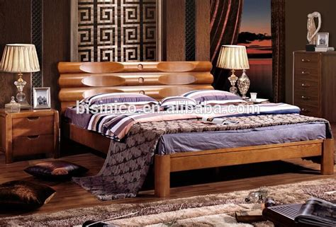 bisini luxury wooden double bed contemporary leather headboard king size bedbf  view