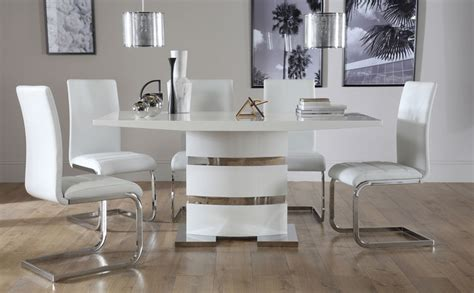 komoro white high gloss dining table with 6 perth white