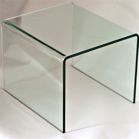 2 mid century modern glass waterfall end tables