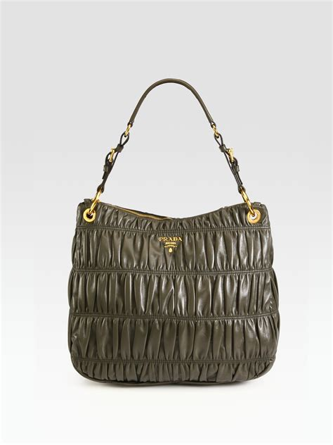 Prada Nappa Gaufrean Hobo by Prada Nappa Gaufre Zip Hobo Bag In Gray Olive Lyst
