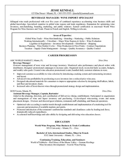 Beverage Food Manager Resume exle beverage manager resume sle