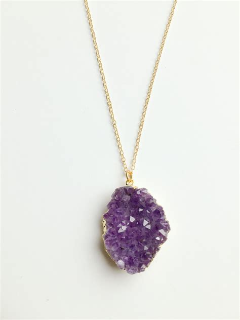 Handmade Amethyst Necklace - amethyst cluster necklace reija jewelry