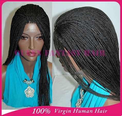 afrian amerian wigs with micro braids hot selling synthetic full hand braided lace front wigs