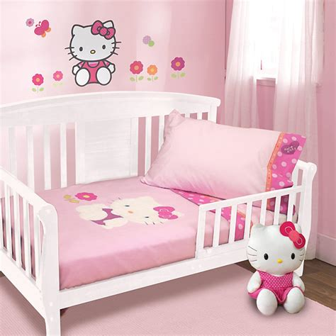 Hello Kitty Toddler Bedroom Set | hello kitty garden 5 piece baby crib bedding set