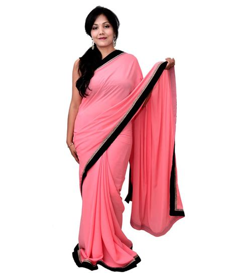 get style at home neon pink saree with black border buy