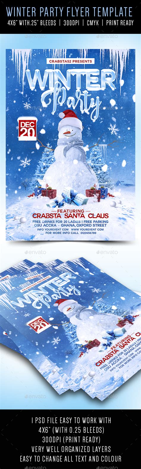 Winter Party Flyer Template By Crabsta52 Graphicriver Winter Flyer Template