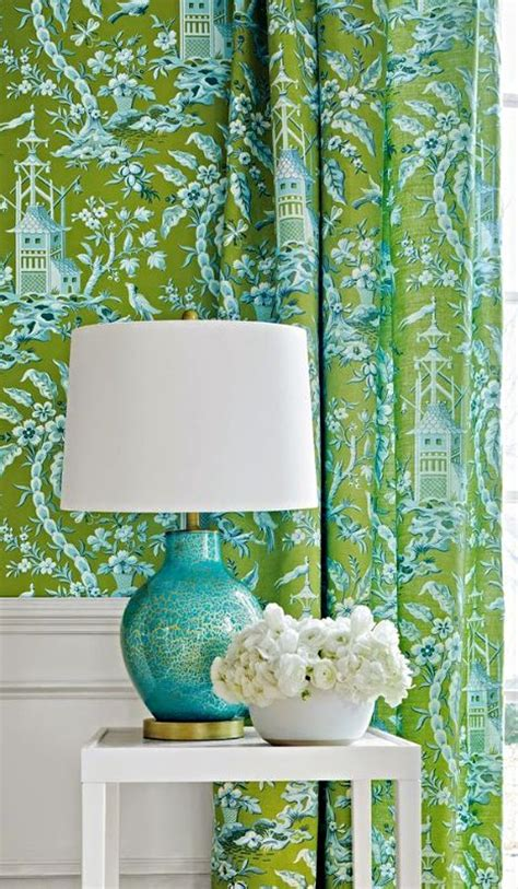 Turquoise And Green Curtains Green Turquoise Chinoiserie Don T Forget The Matching Drapes Mi Casa Pinterest
