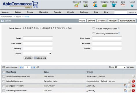 Email Username Search Ecommerce Groups And User Management