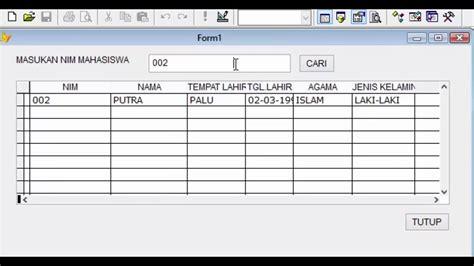 membuat form login menggunakan database mysql tutorial membuat form pencarian data menggunakan visual