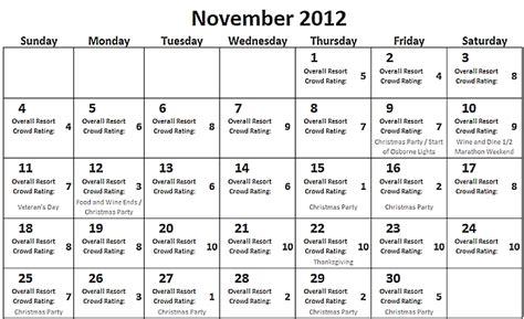 Calendar November 2012 Looking The November 2012 Wdw Crowd Calendar