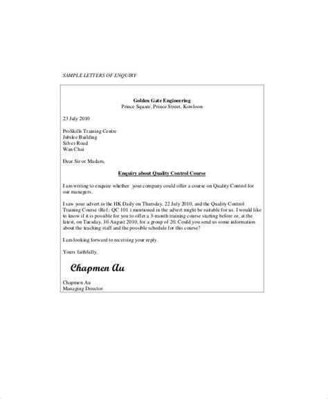 sample business enquiry letter templates