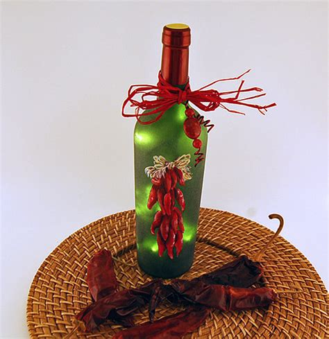 chili pepper home decor wine bottle light chili peppers home decor by vauvicstudio