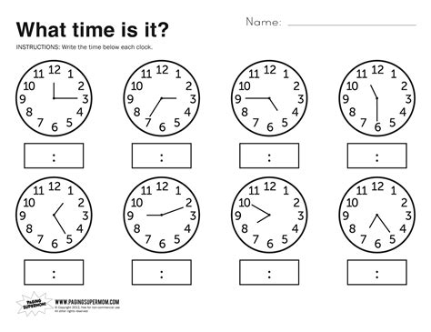 Printable Telling Time Sheets Free | free printable telling time worksheets